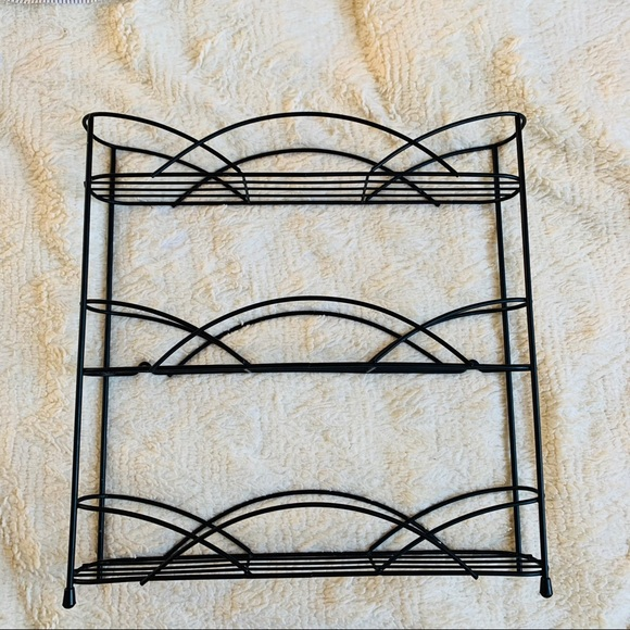 Other - metal Wire Spice Rack Black 3 tier wall hanging